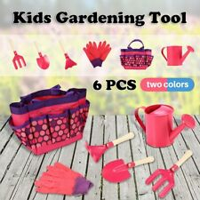 Outdoor Gardening Tools Set Garden Gloves Tote Watering Can Rake Shovel for Kids