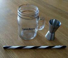CAPTAIN MORGAN RUM JAM JAR GLASS AND JIGGER.