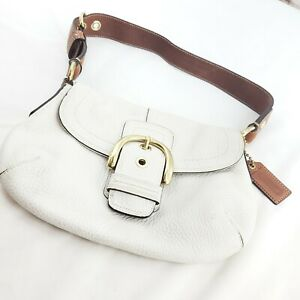 Coach Womens White Tan Leather Shoulder Strap Flap Snap Hobo Handbag Purse