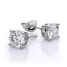 GIA certified 1.00 CT Round Cut Diamond Earrings Set 14k White Gold