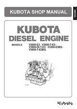Kubota Motor V3300 E3BG, V3600 E3/T-E3/T-E3BG, V3800 DI-T-E3 Manual Del Taller Libro