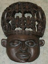"""Wood Carved Vintage Mask X Large Wall Mountable 3D Smile Spiders Lizards 21"""" T."""