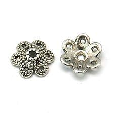 40 Perlenkappen 10mm Tibet Antik Silber Blumen Perlkappen Spacer Schmuck M522