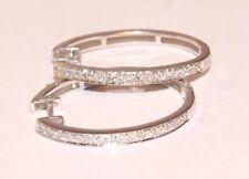 Screw Back (pierced) Hoop Fine Diamond Earrings
