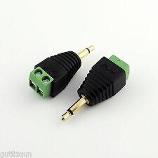 "10x 3.5mm 1/8"" Mono Male Plug To AV Screw Video Balun Terminal Converter Adapter"