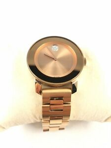 Movado Bold Rose Gold Plated Stainless steal Bracelet 36mm Watch 3600086