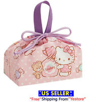 New JAPAN SANRIO Hello Kitty Cat Cute Pink Candy Lunch Box Drawstring Bag Purse