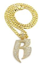 "Iced Out Hip Hop RUFF RIDERS 'R' & 7mm 30"" Lab Diamonds Figaro Chain Necklace"
