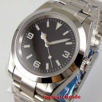 40mm BLIGER black dial sapphire glass oyster strap NH35 automatic mens watch