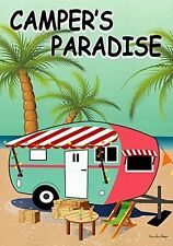 "FM CAMPER'S PARADISE (DOUBLE SIDED) CAMPING RV SUMMER 12""x18"" GARDEN FLAG BANNER"