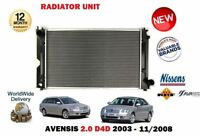 FOR TOYOTA AVENSIS 2.0TD D4D 116BHP 2003-2008 NEW MANUAL CAR RADIATOR UNIT
