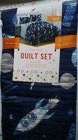 Little Dreamers Twin Quilt Set w/Sham OUTER SPACE Rocket Boy Bedroom Bedspread