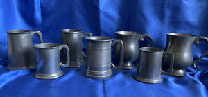 Collection 7 Vintage Pewter Tankards Mugs Glass Bottom Kings Hammered- Job Lot