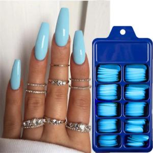 100Pcs/Set False Nail Tips Matte Full Cover Long Coffin Fake Manicure Nails Art
