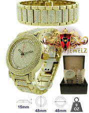 Men's New HipHop BlingMaster Yellow On White Lab Diamond  Watch+Bracelet