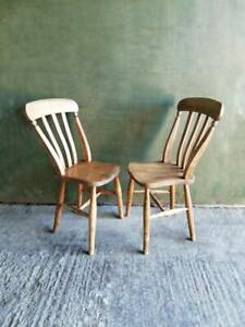 Antique Victorian pair of Elm and Beech stick back  farmhouse dinning chairs