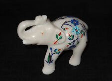 Marble Elephant Safari Lapis Pietra Dura Inlaid Handmade Mosaic Home Decor Gifts