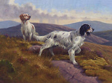 ENGLISH SETTER CHARMING DOG GREETINGS NOTE CARD TWO BEAUTIFUL DOGS ON MOORLAND