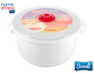 3L Microwave Pot Bowl Tub White Food Storage Containers Round Vented Clear Lid