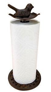 Bird in Leaf Paper Towel Holder Cast Iron/ Aluminum Rustic Brown Farmhouse decor