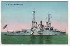 USS SOUTH CAROLINA PC Postcard BATTLESHIP BB-26 Navy NAVAL USN Military WAR Ship