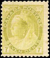 1902 Mint H Canada F Scott #81 7c Queen Victoria Numeral Issue Stamp
