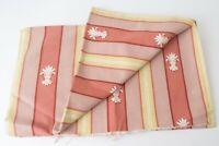 Vintage Fleur-de-Lis Stripe Cotton Twill Upholstery Salmon & Pistachio 3+ Yards