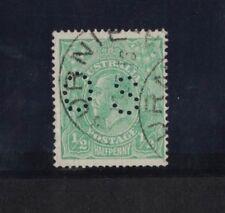 1914 Australia KGV 1/2d green single wmk SG O38 OS perfin fine used