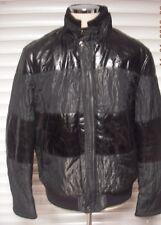 New Men's Italian New Style Genuine Leather/Materiel Black Jacket Sz 54