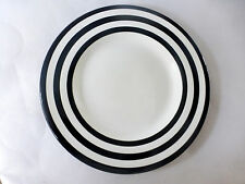 Tabletops Unlimited Hand Painted Ceramic Rnd Black w/White Stripes Dinner Plate