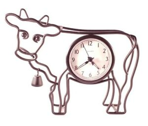 Adorable Black Metal Cow Battery Clock w/ Bell - Farmhouse Decor - Acu-rite