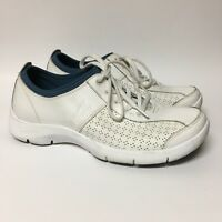 Dansko Women's White Leather Athletic Shoes US Size 8.5 EUR 39 Lace Up