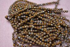 Czech Fire Polished 3mmround faceted glass beads - Goldenrod Picasso
