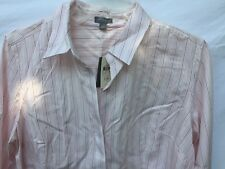 ANN TAYLOR PETITES PINSTRIPES IN PINK !! BUTTON DOWN TAILORED SHIRT NWT SZ 12P
