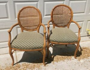 Pair Fairfield Wood Faux Bamboo Cameo Back Cane Upholstered Arm Chairs