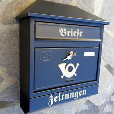 XXL Briefkasten Postkasten Schwarz / Matt+Zeitungsrolle Wandmontage Nostalgie