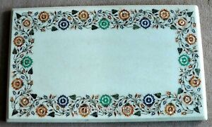 Inlay Art at Border Rectangle Coffee Table Top Marble Dinette table 24 x 36 Inch