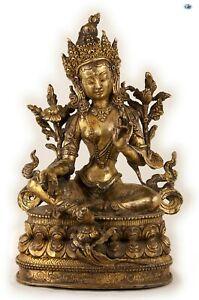 Antique Tall Heavy 1800s Chinese Female Goddess Buddha Gilded Bronze Statue