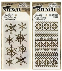 Tim Holtz Snowflakes Stencils Template - Christmas, Holiday Knit & Snowflakes