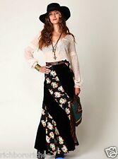 NEW Free People black neon floral Twisted Velvet Mermaid Maxi Skirt 4