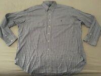 Mens Polo Ralph Lauren Plaid Dress Shirt XL Blue Cotton Button