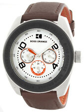 Boss Orange Silver Dial Brown Leather Strap Mens Watch HB.115.1.29.2264