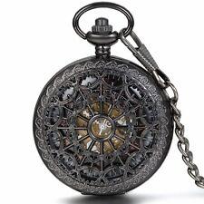 Vintage Roman Numberals Auto Mechanical Steampunk Skeleton Cobweb Pocket Watch