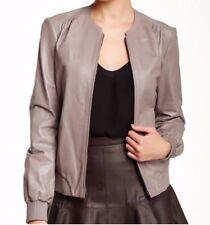 HALSTON Heritage Womens 2 Biker Leather Jacket Cinder Gray Silk Blend Lining