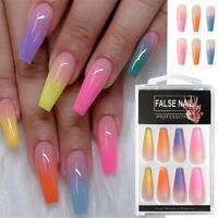 20X/Set Coffin False Nail Tips Rainbow Ballerina Full Cover Manicure Fake Nail