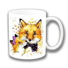 Cute Cartoon Foxes Coffee Mug Artistic Modern Wearing Pink Black Spot Bows White