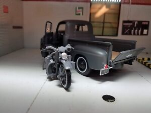 1:24 Echelle 1948 Ford F1 & Harley Davidson Wla Moto Set Modèle Moulé Camion