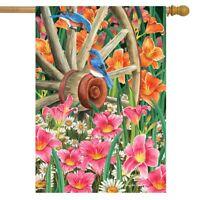 "Wagon Wheel Floral Spring House Flag Bluebirds 28"" x 40"" Briarwood Lane"