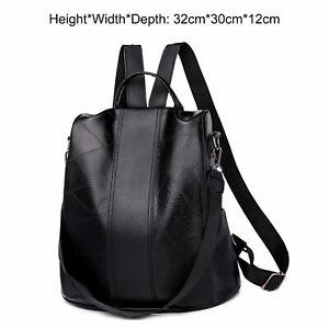 Womens Backpack Girls School Shoulder Bag Pack Satchel Convertible Black Leather