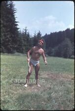 Man Outdoors in Underwear Briefs & Goofy Hat Holding Racket Vtg 1962 Slide Photo